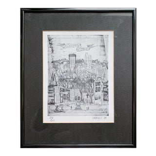 Vintage Architecture Etching Print by Jon Daniels For Sale