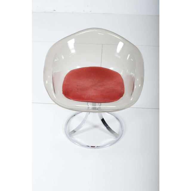 Lucite tulip chair by British designer, Peter Hoyte, circa 1968. Newer mohair upholstery in coral red color. Polished...