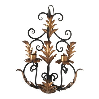1960s Mid Century Italian Iron Parcel Gilt Tole Wall Sconce For Sale