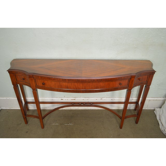 Brown Regency Style 1930s Inlaid Satin Wood Console Sideboard For Sale - Image 8 of 13