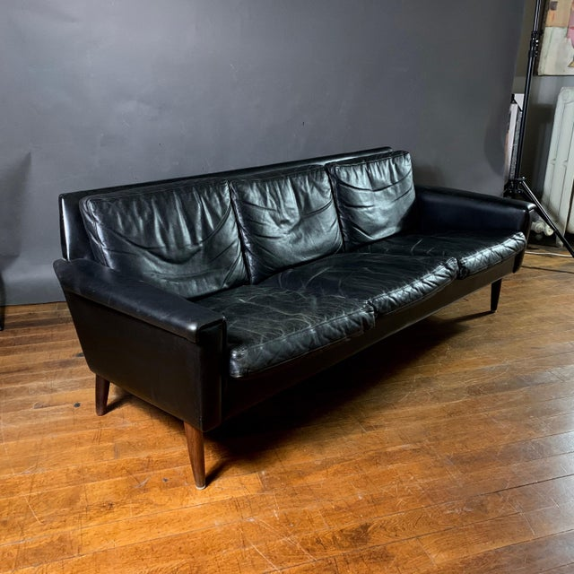 Early 1970s Danish Flared-Arm 3-Seat Sofa For Sale - Image 4 of 9