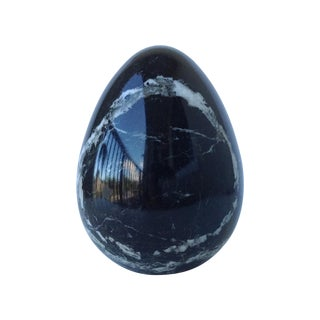 Black Marble Egg-Shaped Accent For Sale