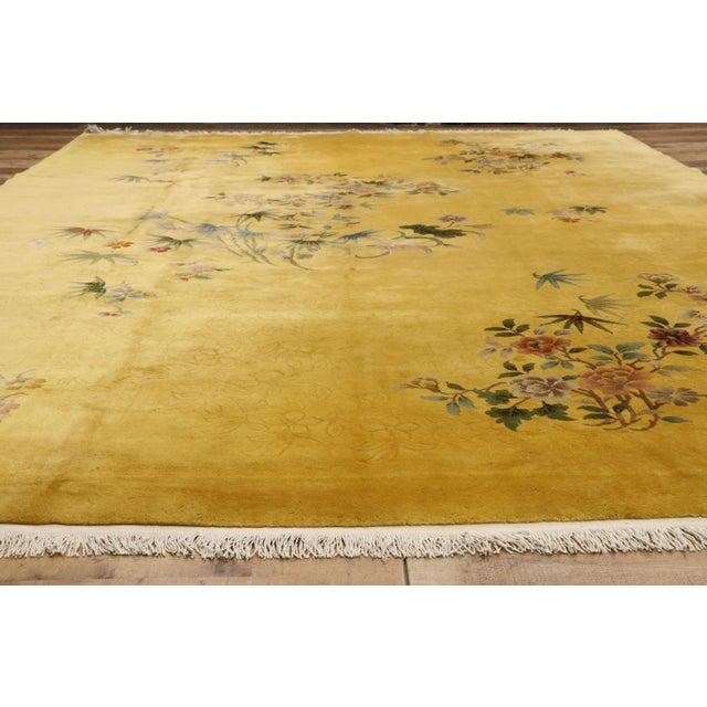 Textile Citrine & Saffron Antique Chinese Art Deco Rug - 10'08 X 14'06 For Sale - Image 7 of 10