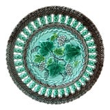 Image of 1890 Villeroy & Boch Majolica Reticulated Grape Plate For Sale