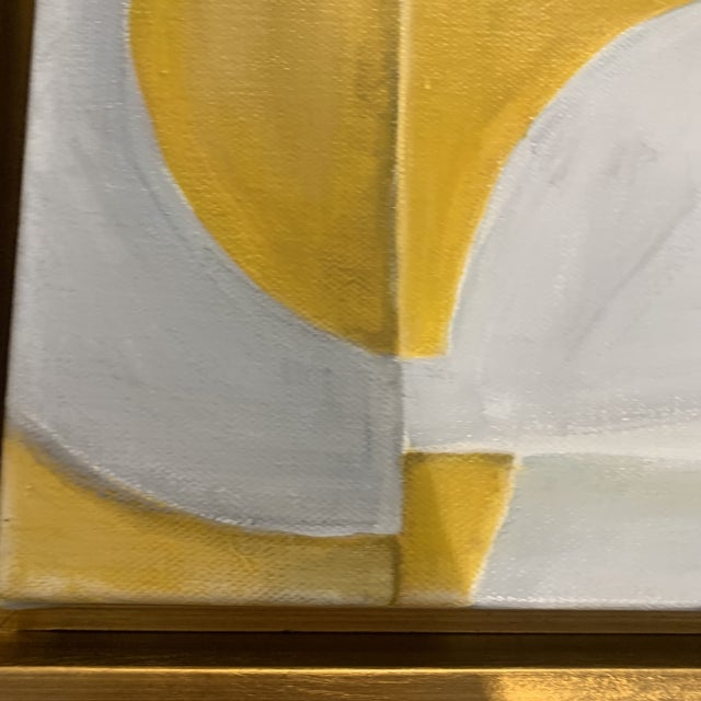 2010s Custom Modern Abstract Yellow and White Painting from Houston Artist For Sale - Image 5 of 9