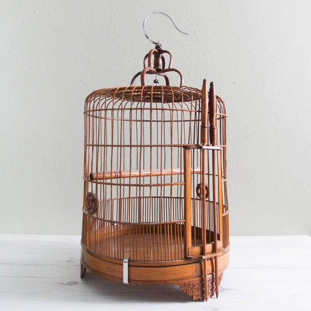 Vintage Chinese Bamboo Bird Cage - Image 2 of 6