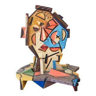 Italo Scanga Oil on Wood Head #10 Sculpture From the Helander Gallery Worth Ave Palm Beach For Sale