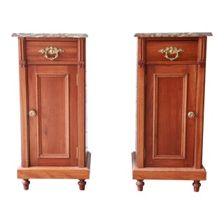 19th Century Victorian Walnut Marble Top Nightstands, Pair For Sale