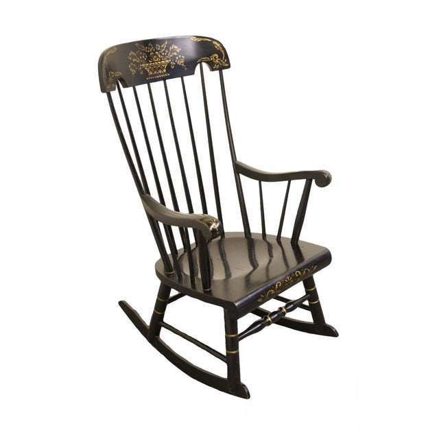 Tell City Black and Gold Hitchcock Style Rocking Chair For Sale - Image 10 of 10