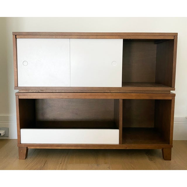 Crate & Barrel Crate & Barrel Mid-Century Modern Style Walnut Toy Box and Book Shelf For Sale - Image 4 of 6