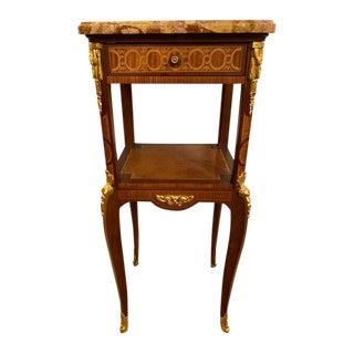 Louis XV-XVI Style Marble-Top Side Table End Table Pedestal, Transitional For Sale