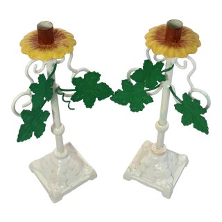Vintage Hand Painted Tole Iron Candle Holders - a Pair For Sale