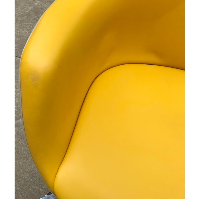 Yellow Vintage Mid Century Yellow Eames Style Shell Rolling Desk Chair For Sale - Image 8 of 13