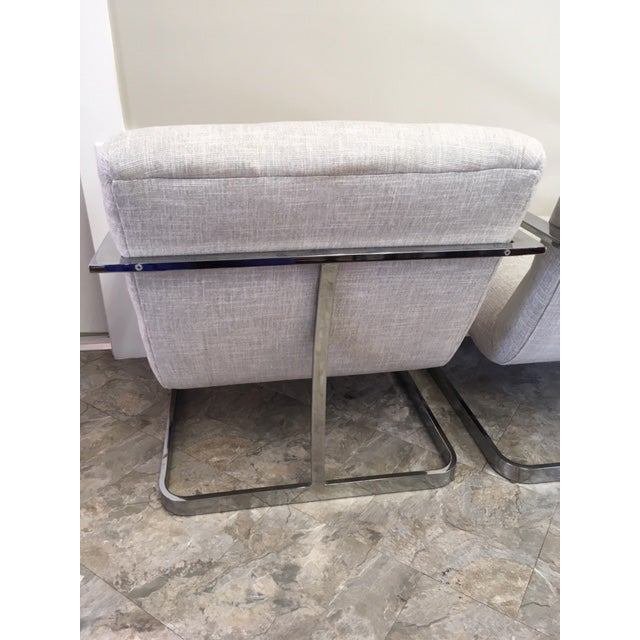 1970s 1970s Vintage Milo Baughman Newly Upholstered Chrome Chairs- a Pair For Sale - Image 5 of 6