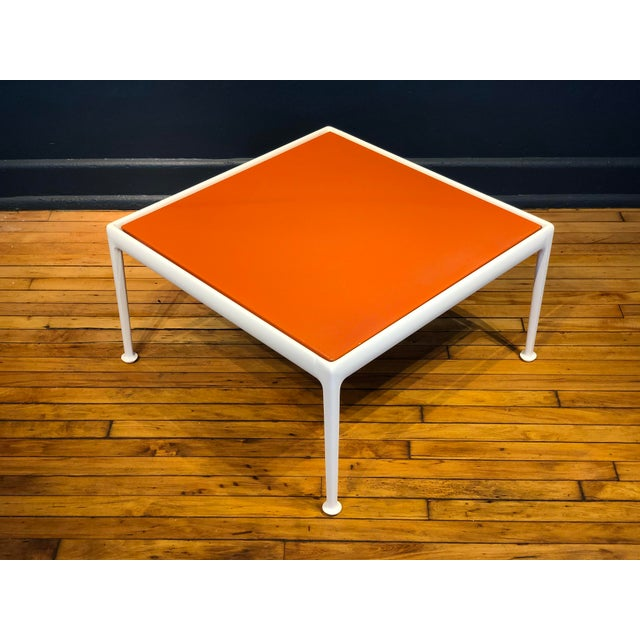 Mid-Century Modern Richard Schultz for Knoll Orange and White Enamel Top Side/Coffee Table For Sale - Image 3 of 12