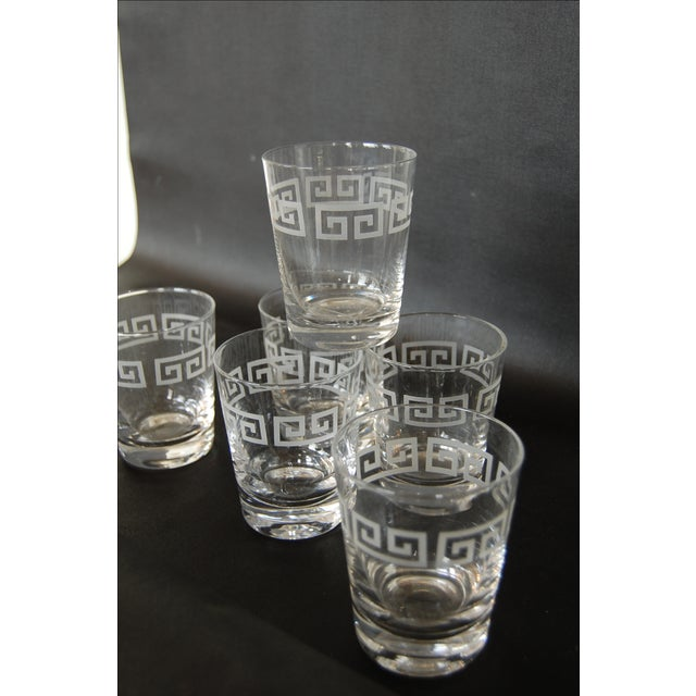 Mid Century Greek Key Cocktail Glasses - Set of 6 - Image 5 of 6