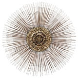 Image of Mid-Century Modern Curtis Jere Brass Starburst Wall Sculpture, 1970s