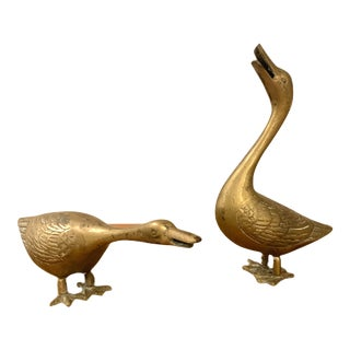 Vintage Mid-Century Heavy Solid Brass Duck & Goose Figurines - a Pair For Sale