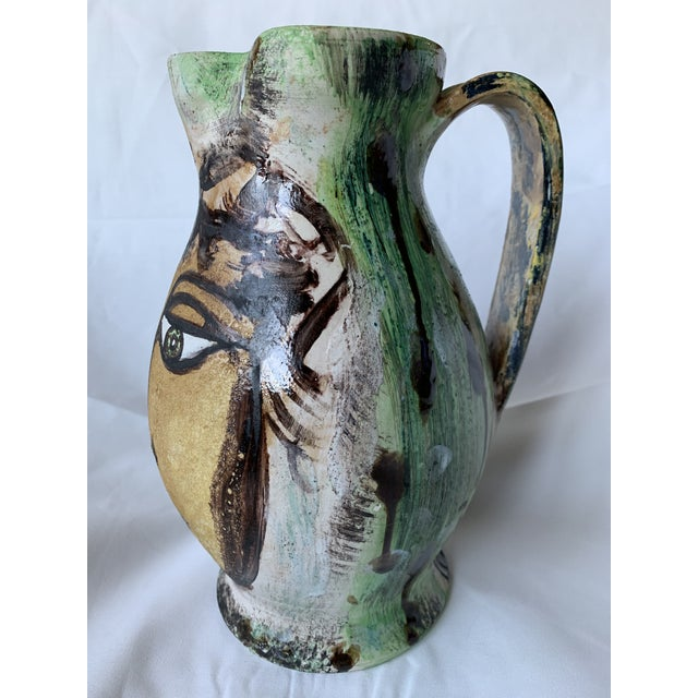 1980s Vintage Italian Pottery Hand Painted Face Pitcher Vase For Sale - Image 5 of 13