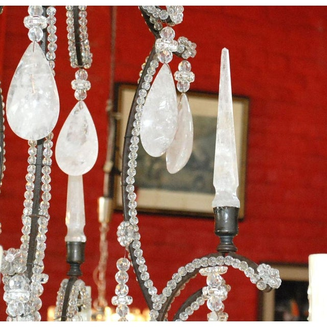 1980s Large Six-Light Rock Crystal Chandelier For Sale - Image 5 of 10