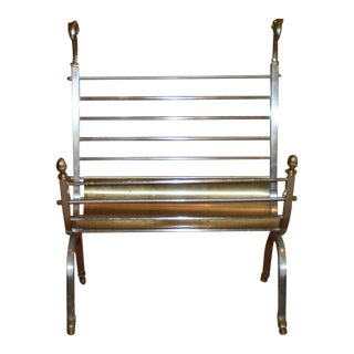 Italian Steel and Brass Magazine Rack in the Style of Maison Jansen For Sale