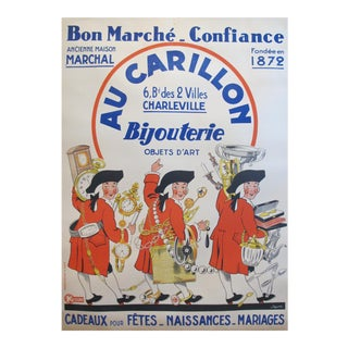 1937 French Jewelry Poster, Au Carillon Bijouterie