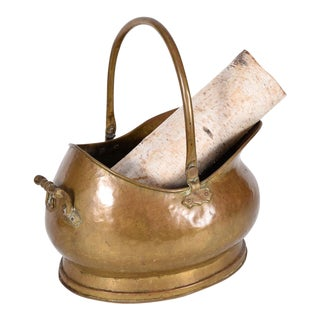 Mid-20th Century Brass Fireplace Coal/ Log Bucket For Sale