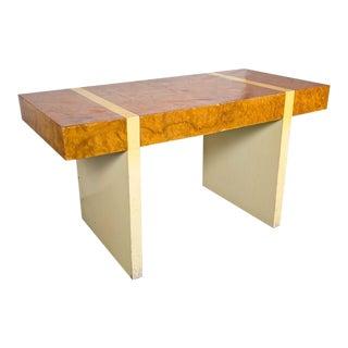 Mid-Centuy Burl & Cream Lacquer Desk For Sale