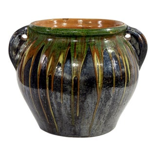 Large Mid Century Drip Glaze Black Ceramic Planter Pot For Sale