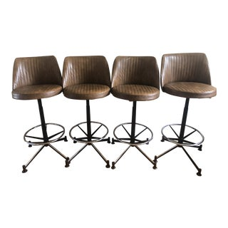 Mid Century Cosco Swivel Bar Stools - Set of 4 For Sale