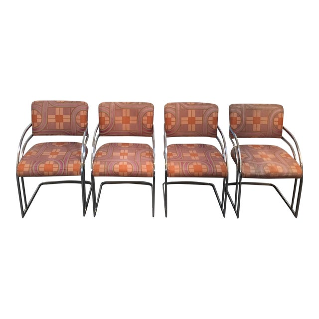 Milo Baughman Style 1970's Deco Style Chrome Framed Chairs - Set of 4 - Image 1 of 8