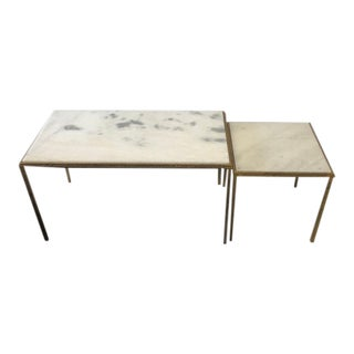 Nested Marble-Top Cocktail Tables - a Pair For Sale
