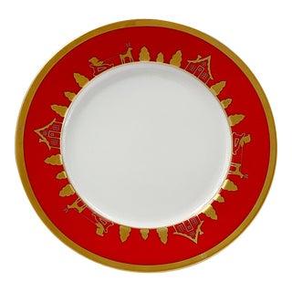 Christian Dior Joyeux Noel Gilt Porcelain Salad / Dessert Holiday Christmas Plates - a Pair For Sale