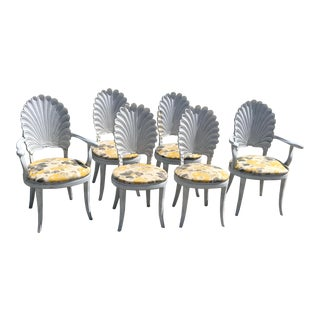 1960s Italian Wood Carved Grotto Shell Dining Chairs - Set of 6