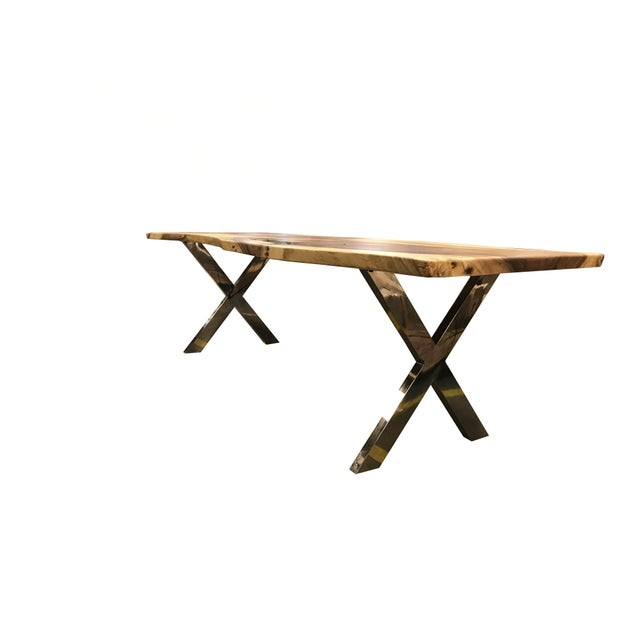 Live Edge Solid Slab Acacia Wood Dining Table - Image 5 of 11
