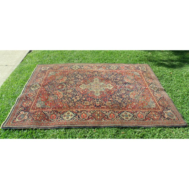Antique Persian Oriental Handwoven Rug - 4'5'' X 6'6'' For Sale In Los Angeles - Image 6 of 11