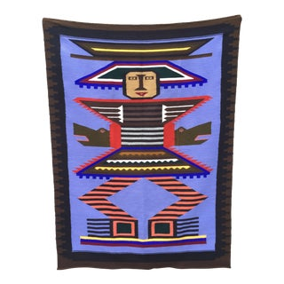 Tribal Woven Wool Wall Hanging For Sale