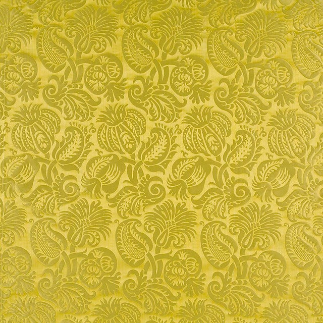 English Suzanne Tucker Home Grenade Silk Damask in Chartreuse For Sale - Image 3 of 3