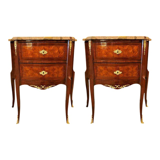 French Marble Top Two Drawers Bronze-Mounted Tables or Nightstands - a Pair For Sale