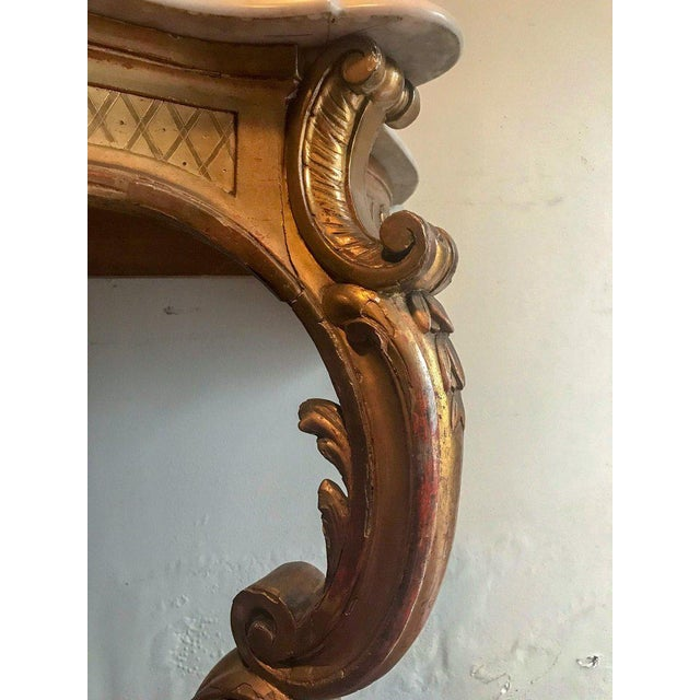 19th Century 19th Century Louis XV Style Carved and Gilded Marble-Top Console For Sale - Image 5 of 11