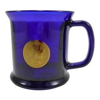Cobalt Blue Glass Mug W Antique Spanish Coin Design For Sale