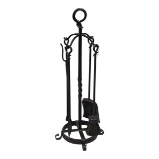 Vintage Mid-Century Forged & Wrought Iron Gothic Style Fireplace Tool Set - 5 Pieces For Sale