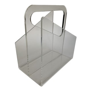 Vintage 1970s Modern Lucite Magazine Rack Lp Holder Stand For Sale