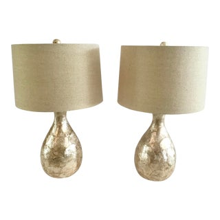 Organic Shaped Mother-Of-Pearl Table Lamps - a Pair For Sale
