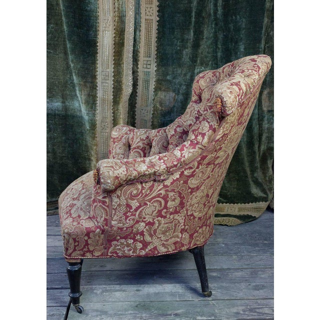 Red Pair of Tufted and Scrolled Back Armchairs For Sale - Image 8 of 11