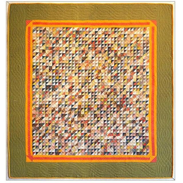 Folk Art Monumental Micro Triangular Cut Feed Sack Folk Art Quilt Mounted on Canvas For Sale - Image 3 of 3