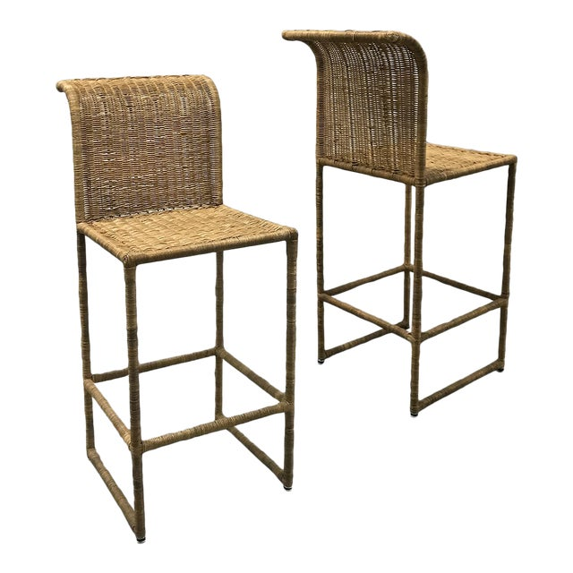 Mid-Century Modern Rattan Bar Stools - a Pair For Sale