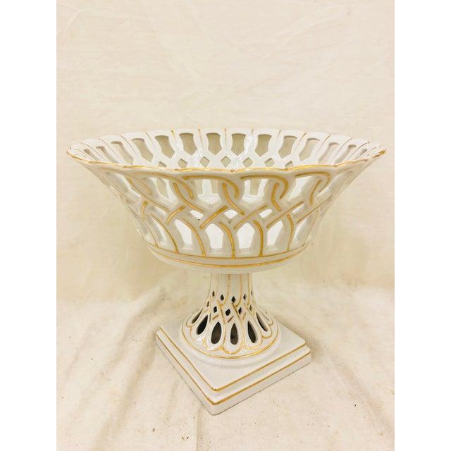 Stunning Italian Style Gilded White Porcelain Dish on Pedestal Base. Original finish fittings and frame. Beautiful Cut...