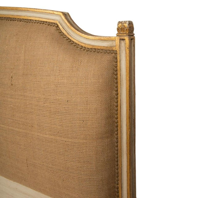 1940s French Louis XVI Style Painted Burlap Queen Bed For Sale - Image 4 of 8