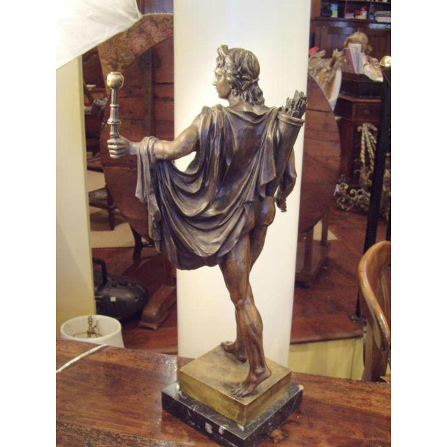 Neoclassical 19th Century Italian Male Nude Bronze Statue For Sale - Image 3 of 5
